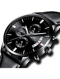 Relojes de Hombre Reloj Militar Deportivo Impermeable Lujo Cronógrafo Fecha Calendario Relojes de Pulsera de Cuero Negro Casuales Analógico Cuarzo