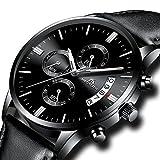 Herren Uhren Männer Wasserdicht Sport Militär Chronograph Lederband Armbanduhr Luxus Mode Datum Kalender Analog Quarz Schwarz Uhr
