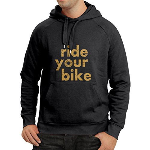 Lepni.me felpa con cappuccio ride your bike (x-large nero oro)