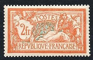 Timbre France Yvert n°145, Merson, 2f orange et vert-bleu, 1907, neuf sans charnière TB 1er choix