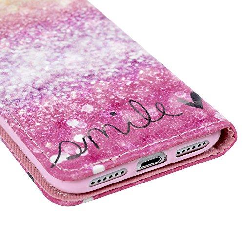 iPhone 7 Lederhülle iPhone 7 Flip Case YOKIRIN Premium PU Leder Wallet Case Handyhülle TPU Innenschale Handy Cover Bumper Etui Brieftasche Laser Streifen PU Cortex Schutzhülle Tasche Bookcase mit Kart Licht Punkt