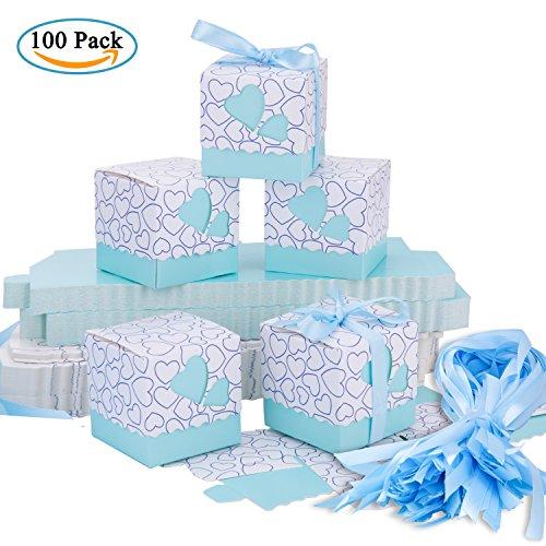 Scatole portaconfetti – meersee 100 pz scatole portaconfetti di carta bomboniere regalo segnaposti decorazioni per festa matrimonio battesimo compleanno (blu)