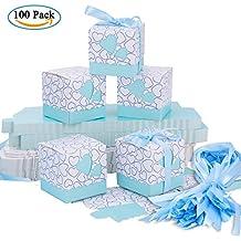 Cajas de Boda Regalo – Meersee 100 Cajas de Bautizo Caramelo Cumpleaños Dulces Bombones Regalos Detalles con Cintas para Invitados de Boda Fiesta Comunion, Bautizo Cumpleaños (Azul)