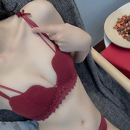 Streifen Gesammelt (Tianyifeng Tomatengeschmack Unterwäsche Blume Tasse Spitze Streifen gesammelt mittel dick kein Stahlring BH Einzelstück Weinrot Einzelstück 36 / 80AB Pass Tasse)