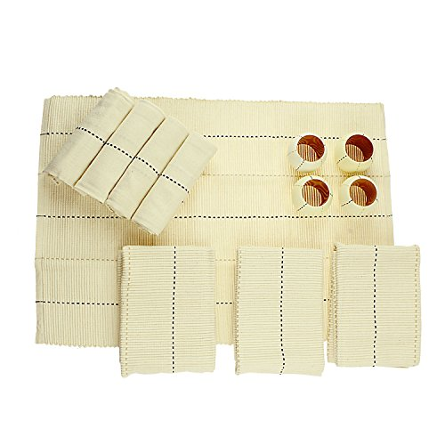 Story @ Home Cream 100% Cotton Tip Top Dining Mats Set of 12