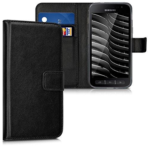 kwmobile Hülle für Samsung Galaxy Xcover 4 - Wallet Case Handy Schutzhülle Kunstleder - Handycover Klapphülle mit Kartenfach und Ständer Schwarz
