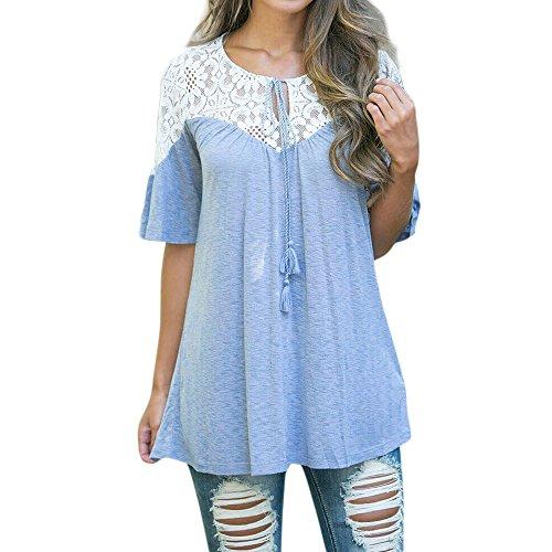 BBring Damen Sommer Mode Elegent Spitzen Patchwork Kurzarm Tie Lose Tops Blusen T-Shirt (Blau, L) (Lehrer Denim)