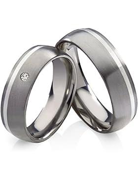 Titanringe Verlobungsringe Eheringe Trauringe Hochzeitsringe aus Titan mit 925 Silber und Zirkonia Gravur HT136