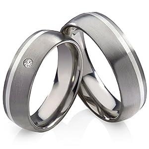 frencheis Titanringe Verlobungsringe Eheringe Trauringe Hochzeitsringe aus Titan mit 925 Silber und Zirkonia Gravur HT136
