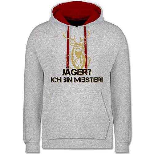 Après Ski - Jäger? Ich bin Meister! - Kontrast Hoodie Grau Meliert/Rot