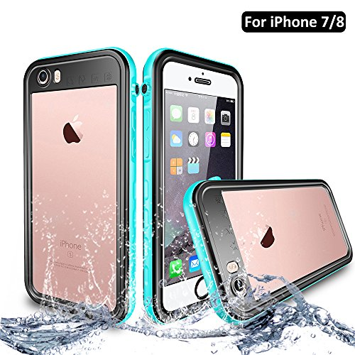 NewTsie iPhone 7 / iPhone 8 Wasserdicht Stoßfest Hülle, IP68 Zertifiziert Schutzhülle Staubdicht mit Eingebautem Displayschutzfolie für iPhone 7/8 4.7 inch (T-Blau)