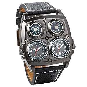 Jewelrywe accessoires montre bracelet montre sport grand cadran deux fuseaux horaires d coration for Montre decoration