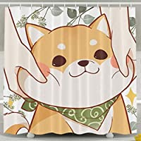 Presock Cortinas De Ducha, Cute Corgi Shower Curtain, Custom Waterproof Fabric Shower Curtain Sets