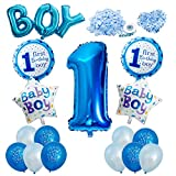 Vordas Happy Birthday Baby Boy Jungen 1. Geburtstag Party Luftballons Set Supplies, Perfekte Dekoration für Babyparty-Party