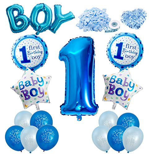 Vordas Happy Birthday Baby Boy Jungen 1. Geburtstag Party Luftballons Set Supplies, Perfekte Dekoration für Babyparty-Party (Party Erster Geburtstag Supplies Baby)