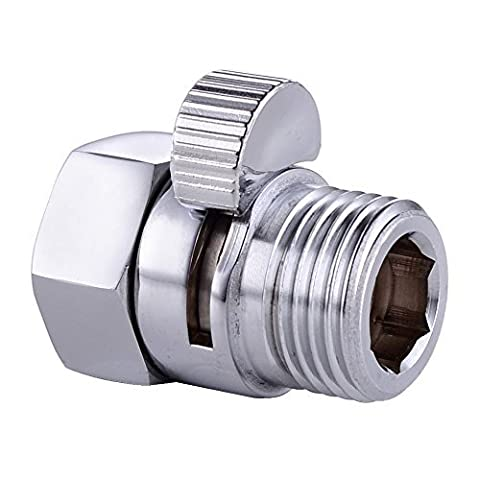 Homeself Shower Flow Control Valve, Shower Head Shut-Off Valve Solid Brass with Short Switch, Universal Replacement Part by