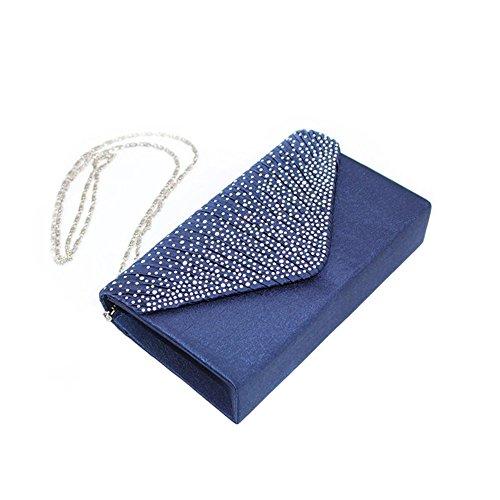 Damen Diamant Abendtasche Frauen Handtasche Clutch Bag Party Envelope Bag Henkeltasche (Navy)