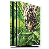 Sony Playstation 4 Pro PS4 Folie Skin Sticker aus Vinyl-Folie Aufkleber Leoparden Baby Dschungel Raubtier