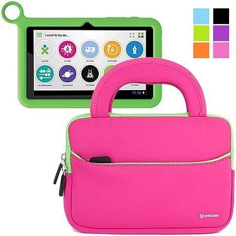Evecase OLPC XO-780 pulgadas Estuche Maletín Universal de neopreno con manija para OLPC infantil Tablet XO-780 Tablet PC, color rosa con borde