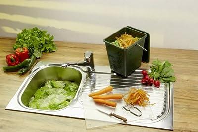 Rotho Kompost Eimer GREENLINE, Bio Mülleimer für die Küche mit geruchsdichtem Deckel aus Bio-Kunststoff, Recycling Eimer mit 7 Liter Inhalt, ca. 26 x 20,8 x 25,2 cm von Rotho auf Du und dein Garten