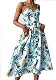 Ehpow Sommerkleid Damen V Ausschnitt Trägerkleid Spaghetti Buegel Blumen Sommerkleid (Small, Weiß)