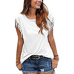 Mujeres De Verano Casual Pullover Plus Size Tallas Extra T - Shirt tee Camisetas y Tops Top Borla Blanco M