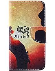 Apple iPhone 44S caso [con protector de pantalla], Nanxi Colorful Niza patrón piel sintética tipo cartera con titular de la tarjeta de Crédito ranuras Smart de pie estilo Ultra fina carcasa piel protectora para Apple Iphone 44S