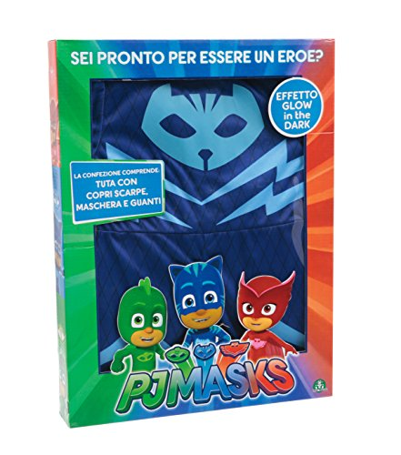 Giochi Preziosi - Super Pigiamini PJ Masks Costume Carnevale Gattoboy, Taglia 3/4 anni