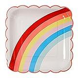 12 Party Pappteller in Weiß mit Regenbogen