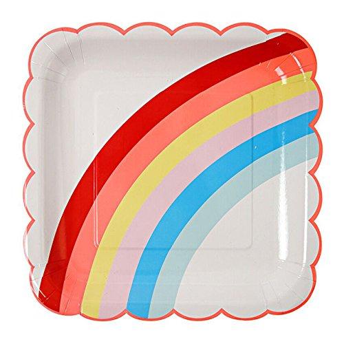 Weiße Party Pappteller (12 Party Pappteller in Weiß mit Regenbogen)
