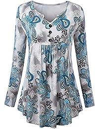 77497e068b8f3a KaloryWee Women Casual V Neck Button Print Long Sleeve Loose Tops T Shirt  Blouse