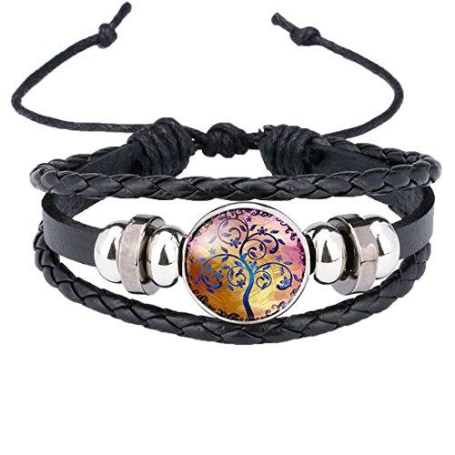 Caimeytie Kind Manschetten Armbänder Leder Verstellbar Zubehör Baum des Lebens Farbig (Baum Des Leder Manschette Lebens)