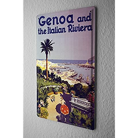 Cartel de chapa Placa metal tin sign Gira Mundial Génova Riviera italiana Palm Harbor Letrero De Metal 20X30