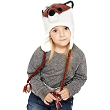 Superora Bonnet Bebe Fille Chapeau Enfant Animaux Renard Mignon Laine  Tricoté avec Cache Oreilles Extensive Hiver 94b63c614b0