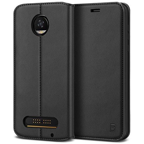 BEZ Coque pour Moto Z2 Play, Etui Motorola Moto Z2 Play en Cuir Premium Flip Case Portefeuille, Housse à Rabat avec Porte-Cartes de Crédit, Fermeture Magnétique, Noir