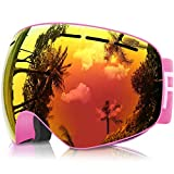 eDriveTech Kids Ski Goggles, Anti Fog Ski Snowboard Snow Goggles Over Glasses for Boys Girls Junior Age 3 4 5 6 7 8 9 10 11 12 13 14 15 Year 100% UV Protection Mirrored Lens Childrens Ski Goggles