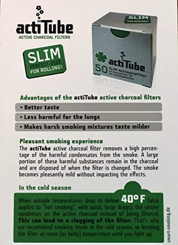Actitube Activated Charcoal Slim Smoking Filter Tips, Pack of Two (2 x 50 units) by Rolling Filters