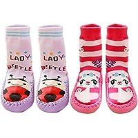 2 pares lindo algodón engrosamiento bebé niños chicos chicas calcetines Zapatos Botas zapatillas piso 15cm suela (Conjunto D talla L)