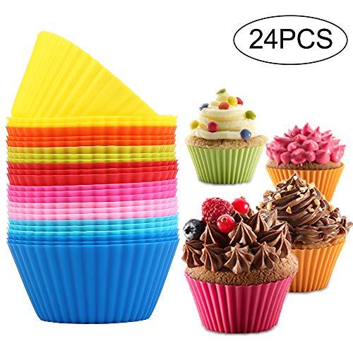 Vegena Silikon Muffinformen,Wiederverwendbare Backförmchen aus Silikon,Muffinformen aus Hochwertigem Silikon Umweltschonend Muffinförmchen Cupcakeförmchen Backförmchen Muffin Form 8 Farben, 24er-Set