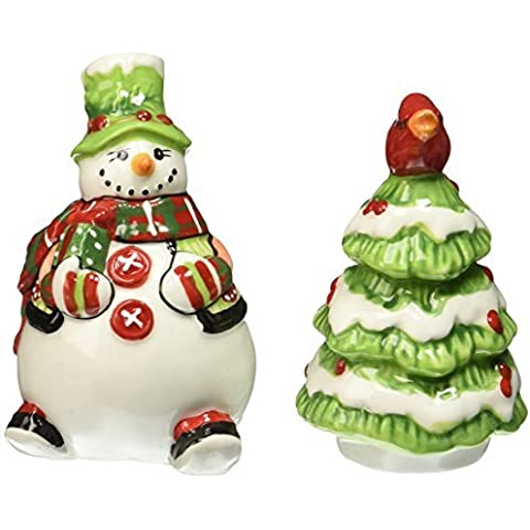 Holly Hat Snowman Collection, Salt and Pepper Shaker Set by Fitz and Floyd - Whimsy Snowman