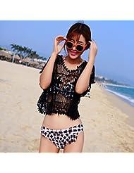 Diseño de flores de mano de qxj Hooked Bikini de playa ropa Sol Blusa, Negro,