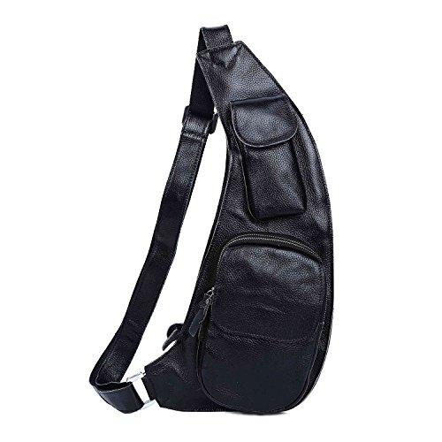 Baigio Sac en Cuir Véritable Sac de Poitrine Sacoche Sac de Plusieurs Poches Sac de Sports Sac de Voyage Sac en Vogue Sac pour Homme, Noir
