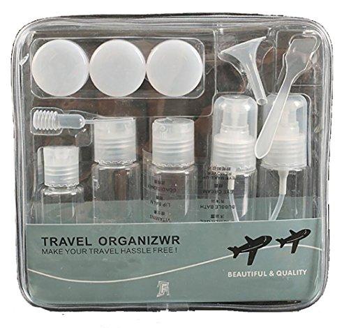 7 Kosmetik Leerflaschen Pumpspray-Leerflasche Set Behaelter Reiseset Leereflasche fuer Reise Flughafen