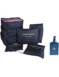 NOVAGO Ensemble 7 sacs complets de différentes tailles, organisateurs de valise et voyage + 1 étiquette de bagage offerte