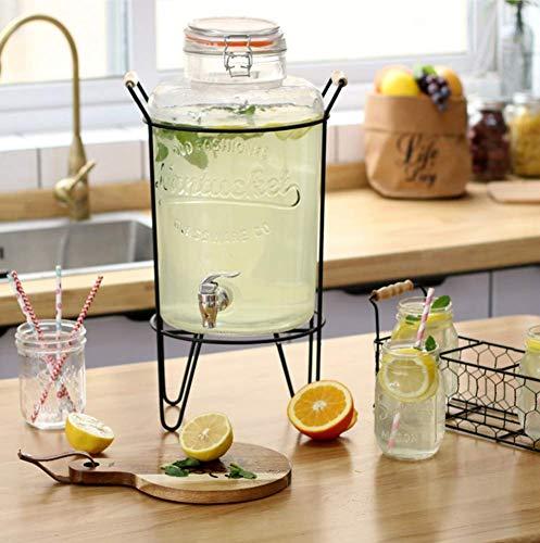 ACZZ Glass Large Beverage Dispenser, 8L Getränkekanne mit Metallständer und Zapfen für Home Bar Party Serveware Glas Serveware