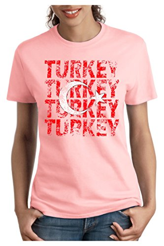 OM3 - TURKEY - Damen T-Shirt tailliert - TÜRKIYE EM 2016 FRANKREICH FRANCE FUSSBALL FANSHIRT SOCCER SPORT TRIKOT EUROPAMEISTER, S - XXL Rosa