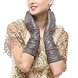 Nappaglo Damen Winter Lange Leder Handschuhe aus echtem Nappaleder Touchscreen Party Fausthandschuhe (M (Umfang der Handfläche:17.8-19.0cm), Grau(Non-Touchscreen))