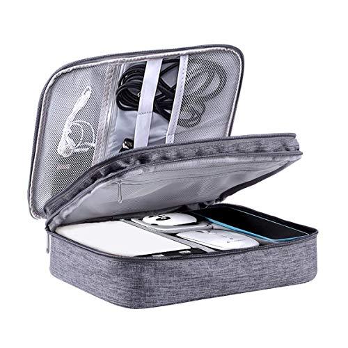 LIVACASA Kabeltasche Wasserdicht Elektronische Tasche Universal Festplattentasche Groß Kabel Organizer Tasche Elektronik Zubehör Organisator für Handy Ladekabel Powerbank USB Sticks SD Karten Grau