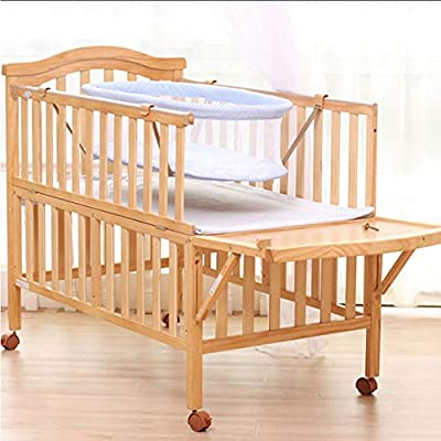 Wooden Baby Cot Bed with Universal casters, easy to move, with brake design for Toddler Kids Junior Boy Girl Bedroom
