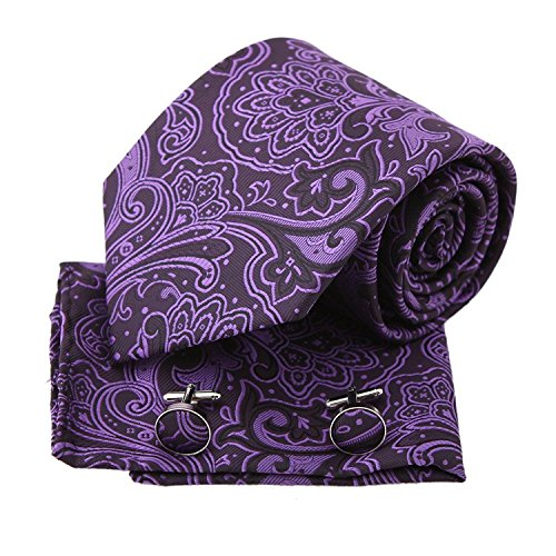 PH1132 Purple Patterned Woven Silk Necktie Handkerchiefs Cufflinks Present Box Set Dark Violet Gift Ideas for Man Pointe Tie By Epoint